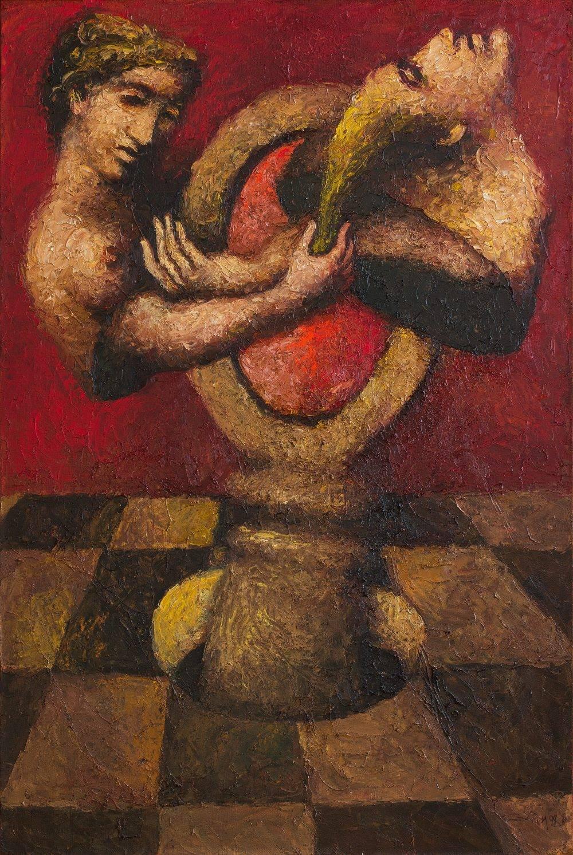 Александр Ройтбурд, Мистическое обручение. Из цикла Всекидневният живот в Помпей, 1998, холст, масло, 150 x 100