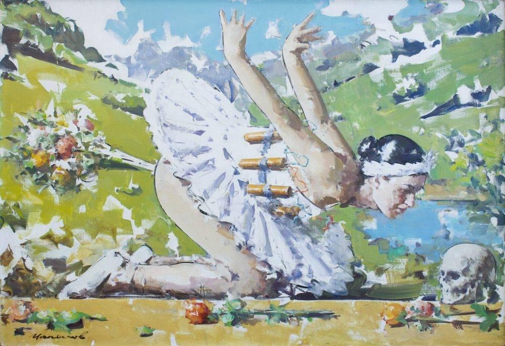 Василь Цаголов, эскиз к картине Цветы зла из серии Лебединое озеро, 2010, холст, масло, 100 х 150